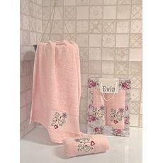 "Набор полотенец ""Цветы"" (50х90+70х140) розовый, фото 1"