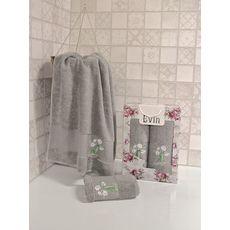 """Набор полотенец """"Цветы"""" (50х90+70х140) серый, фото 1"""