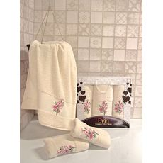 """Набор полотенец """"Цветы"""" 3пр. (50х90-2шт.,70х140-1шт.) молочный, фото 1"""