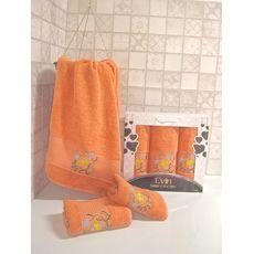 """Набор полотенец """"Цветы"""" 3пр. (50х90-2шт.,70х140-1шт.) оранжевый, фото 1"""