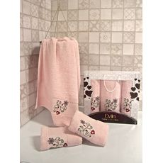 "Набор полотенец ""Цветы"" 3пр. (50х90-2шт.,70х140-1шт.) розовый, фото 1"