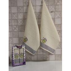 "Кухонное полотенце в упаковке 50x70*2 ""Лаванда"" молочный, фото 3"
