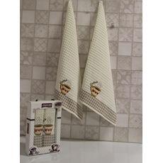 """Кухонное полотенце в упаковке 50x70*2 """"Кофе-2""""молочный, фото 1"""