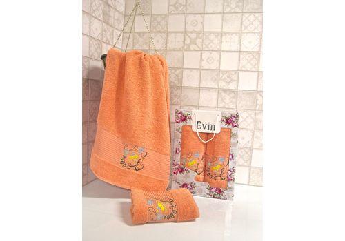 """Набор полотенец """"Цветы"""" (50х90+70х140) оранжевый, фото 1"""