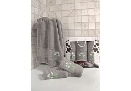 "Набор полотенец ""Цветы"" 3пр. (50х90-2шт.,70х140-1шт.)серый, фото 1"