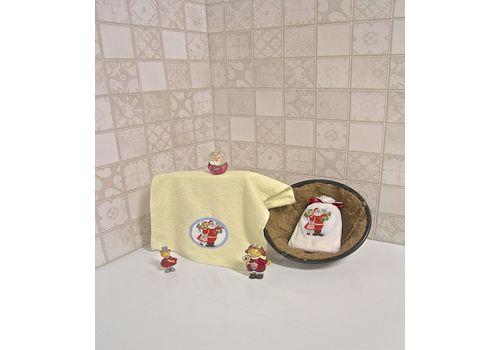 """Махровое полотенце 30х50 """"Новогодний"""" молочный, фото 2"""