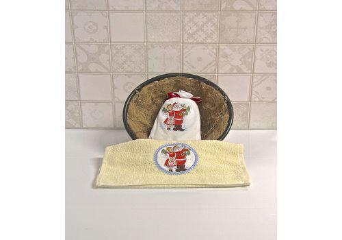 """Махровое полотенце 30х50 """"Новогодний"""" молочный, фото 3"""