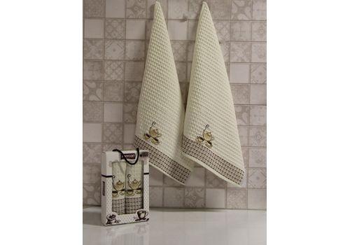 """Кухонное полотенце в упаковке 50x70*2 """"Кофе-1""""молочный, фото 1"""