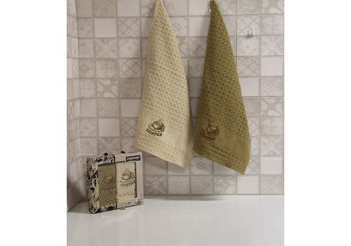 "Кухонное полотенце в упаковке 45x65*2 ""Кофе-2"", фото 1"