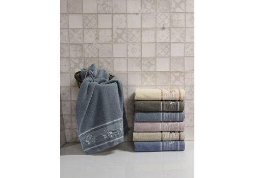 """Махровое полотенце 50х90 """"Flower"""" т.голубой, фото 1"""