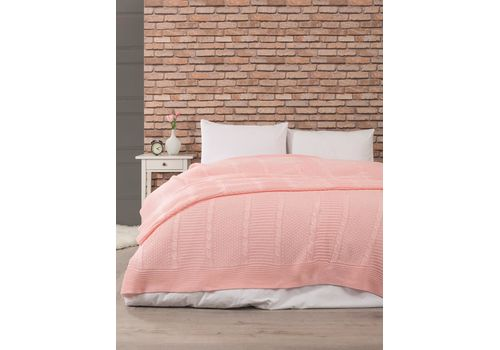 Вязанный плед 220х240см, розовый персик, фото 1
