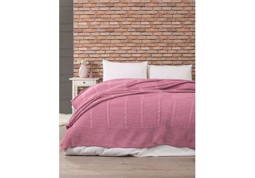 Вязанный плед 220х240см, розовый, фото 1